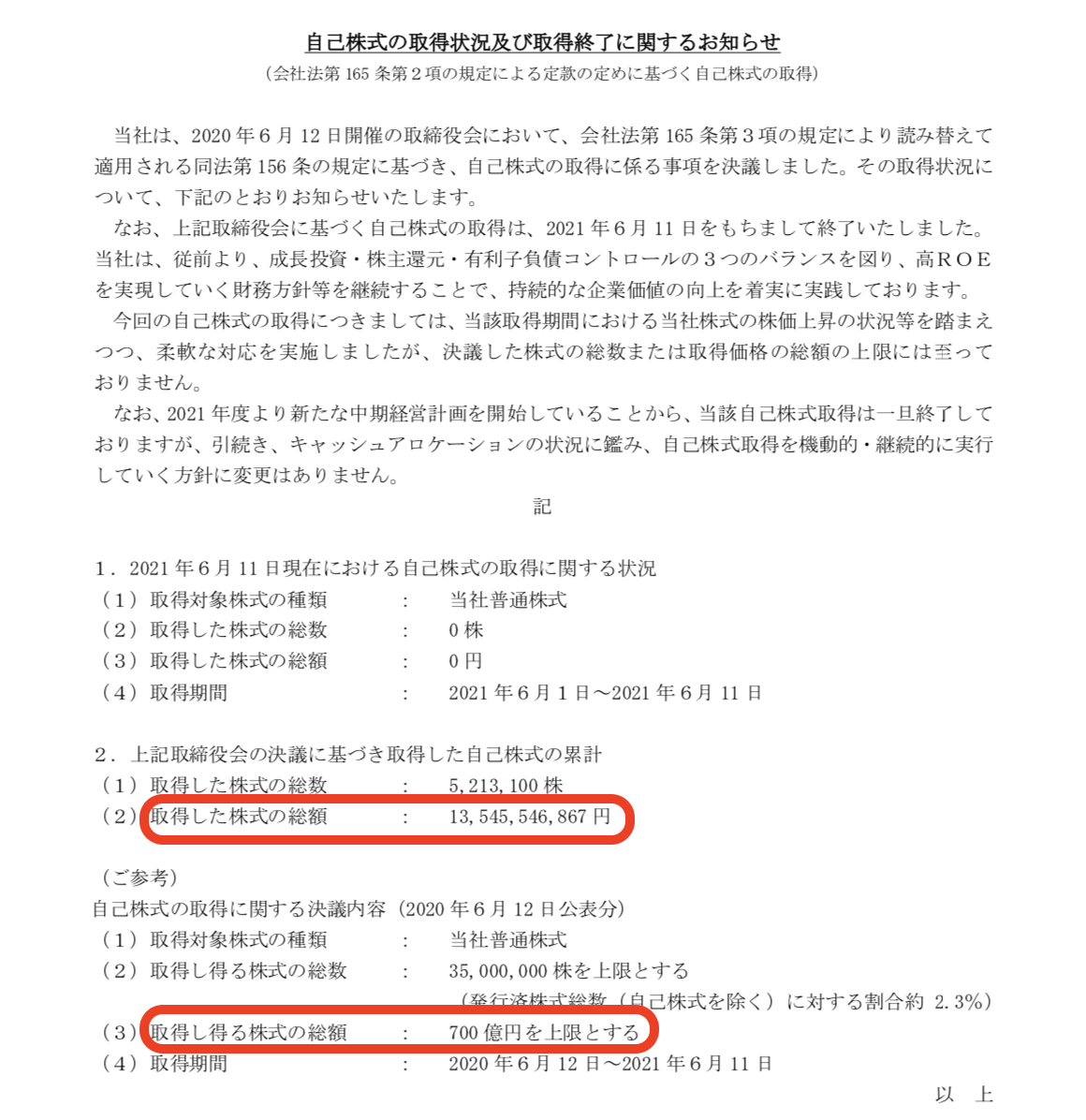 伊藤忠商事株式会社 自己株式の取得状況及び取得終了に関するお知らせ