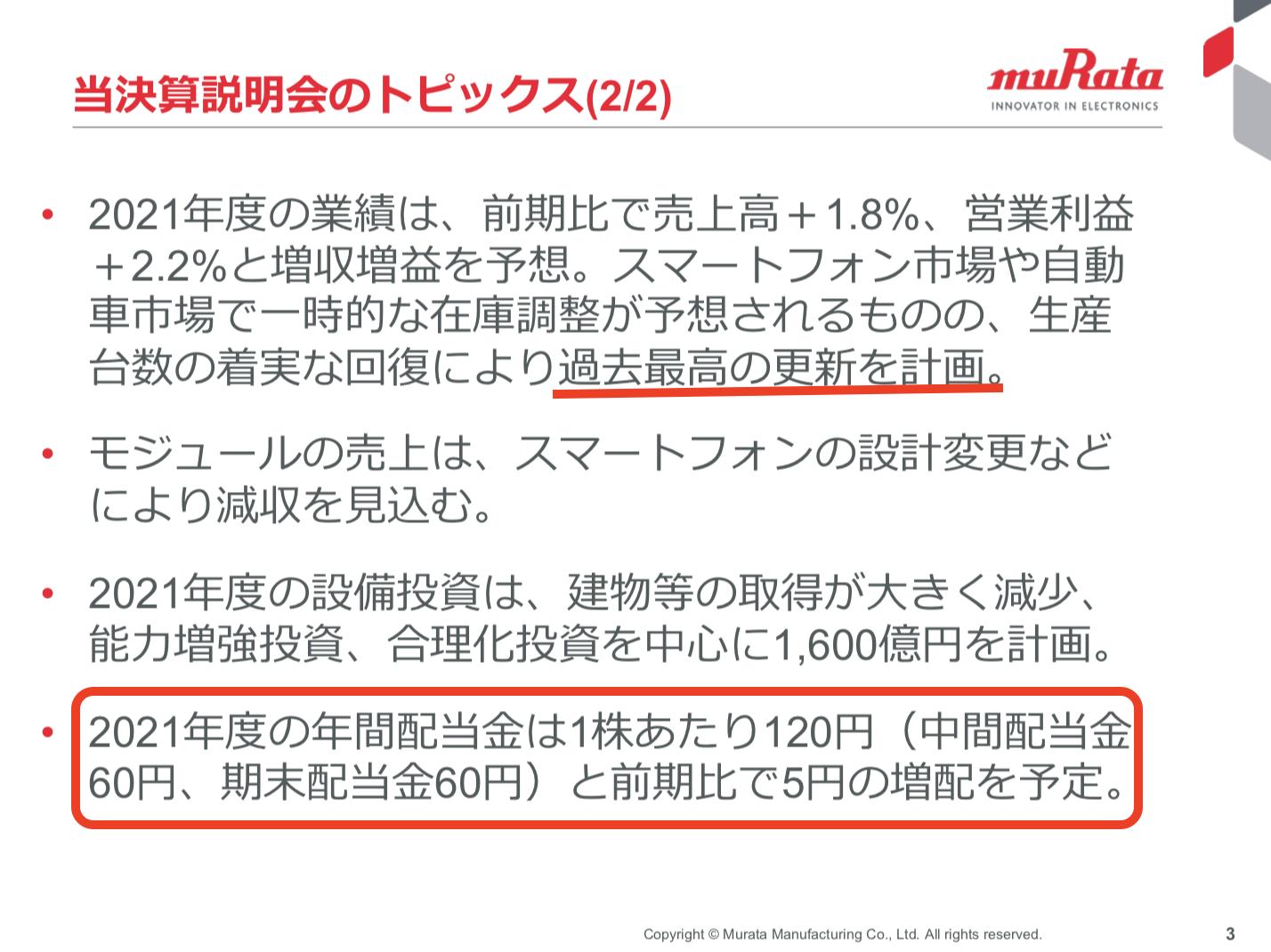 株式会社村田製作所 2020年度 決算説明会